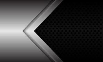 abstracte zilveren pijl richting op zwarte metalen cirkel mesh ontwerp moderne futuristische achtergrond vectorillustratie. vector
