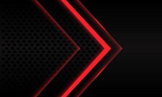abstracte rode neon pijl richting op zwarte metalen cirkel mesh patroon ontwerp moderne futuristische achtergrond vectorillustratie. vector