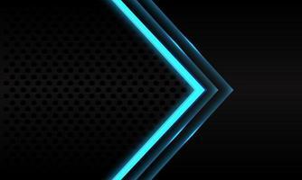 abstracte blauwe neon pijl richting op zwarte metalen cirkel mesh patroon ontwerp moderne futuristische achtergrond vectorillustratie. vector