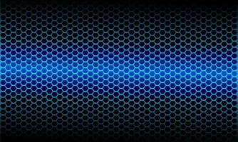 abstract blauw licht metallic zeshoek maaspatroon op zwarte ontwerp moderne futuristische achtergrond vectorillustratie. vector