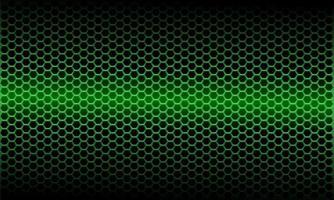 abstract groen licht metallic zeshoek maaspatroon op zwarte ontwerp moderne futuristische achtergrond vectorillustratie. vector