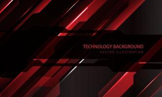 abstract technologie cyber circuit rood zwart metallic schuine streep snelheid donker banner transparantie overlapping ontwerp moderne futuristische achtergrond vectorillustratie. vector