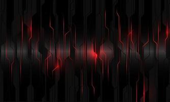 abstract rood licht stroomcircuit op zwart metallic cyber geometrisch ontwerp moderne technologie futuristische achtergrond vectorillustratie. vector