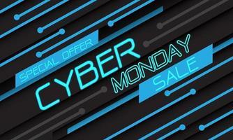 cyber maandag verkoop speciale aanbieding blauw licht circuit geometrische technologie op zwart ontwerp moderne futuristische vector achtergrond illustratie.