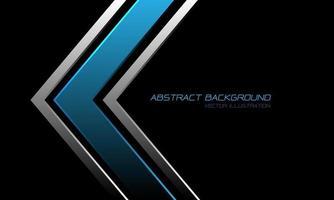 abstracte blauwe metallic zilveren pijlrichting op zwart met tekstontwerp moderne luxe futuristische achtergrond vectorillustratie. vector