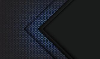 abstracte blauwe zeshoek mesh lichtgrijze pijlrichting met lege ruimte ontwerp moderne futuristische technologie achtergrond vectorillustratie. vector