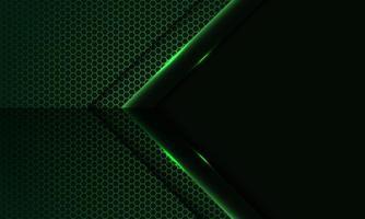 abstracte groen licht pijl richting op zeshoek mesh patroon met lege ruimte ontwerp moderne luxe futuristische technologie achtergrond vectorillustratie. vector