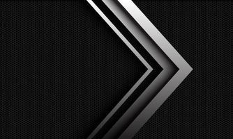 abstracte vector zilveren pijlrichting overlapping op donkere metalen zeshoekige mazenpatroon met lege ruimte ontwerp moderne luxe futuristische stijl achtergrond illustratie.