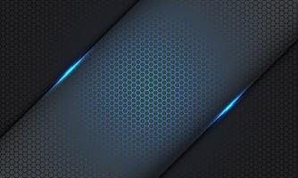 abstracte blauwe zeshoek mesh patroon lichte schuine streep op grijs ontwerp moderne futuristische technologie achtergrond vectorillustratie. vector