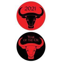rood zwart jaar van de os chinees nieuwjaar cirkel graphics vector