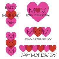 rood roze mod gelukkige moederdag hartafbeeldingen vector