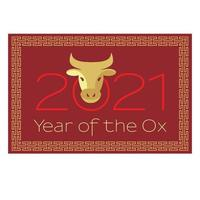 rood goud 2021 jaar van de os Chinees Nieuwjaar vectorafbeelding vector