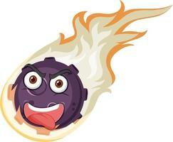 vlam meteoor stripfiguur met een boze gezichtsuitdrukking op witte achtergrond