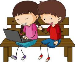 een doodle kinderen met behulp van laptop stripfiguur geïsoleerd vector