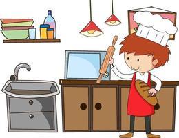 kleine chef-kok met keukenapparatuur op witte achtergrond vector