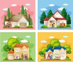 verschillende scènes van een familie die voor een huis te koop staat vector