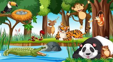 wilde dieren in de jungle vector