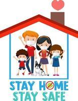 blijf thuis blijf veilig lettertype met gelukkige familie vector