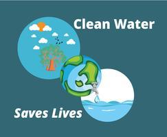 Schoon water redt levensvector