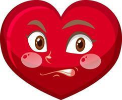 hart stripfiguur met gezichtsuitdrukking vector