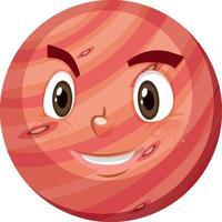 Mars stripfiguur met blij gezicht expressie op witte achtergrond vector