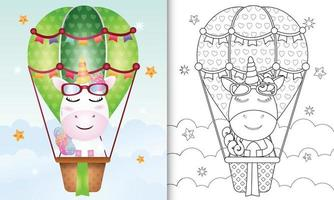 kleurboeksjabloon voor kinderen met een schattige eenhoorn op heteluchtballon vector