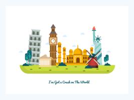 Wereld postkaart Vector