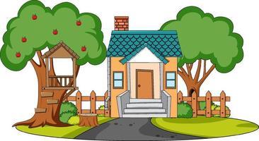vooraanzicht van mini-huis met natuurelementen op witte achtergrond