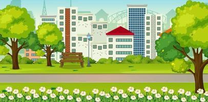 park outdoor scene met veel gebouw op de achtergrond vector