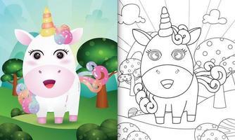 kleurboeksjabloon voor kinderen met een schattige illustratie van het eenhoornkarakter vector