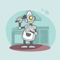 Ai Robot Chef Illustratie vector