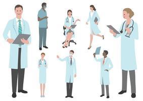 aantal artsen en verpleegkundigen platte vectorillustratie geïsoleerd op een witte achtergrond. vector