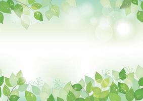 naadloze aquarel verse groene achtergrond met tekst ruimte, vectorillustratie. milieubewust imago met planten en zonlicht. horizontaal herhaalbaar. vector