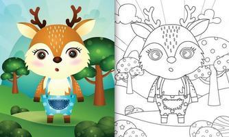 kleurboeksjabloon voor kinderen met een schattige hertenkarakterillustratie vector