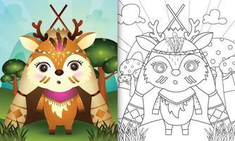 kleurboeksjabloon voor kinderen met een schattige tribale boho herten karakter illustratie vector