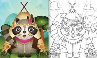 kleurboeksjabloon voor kinderen met een schattige tribal boho wasbeer karakter illustratie vector