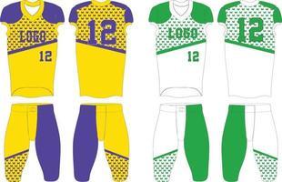 Amerikaanse voetbal uniformen illustraties groen en geel vector