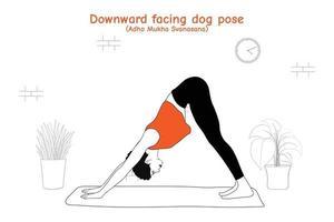 vrouw doet yoga asana naar beneden gerichte hondhouding of adho mukha svanasana in vlakke handgetekende stijl vector