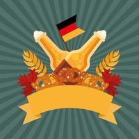 Oktoberfest bierflesjes en pretzels vector ontwerp