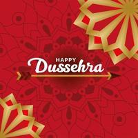 gelukkige dussehra-pijl op rood mandala vectorontwerp als achtergrond vector