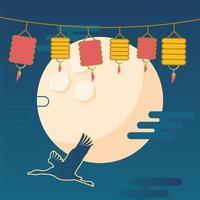 gelukkige medio herfst oogst met maan, ooievaar en lantaarns vector ontwerp