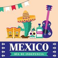 Mexicaanse onafhankelijkheidsdag banner vector