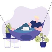 man met laptop bezig met een hangmat