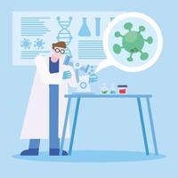 coronavirus vaccin onderzoeksontwerp met chemicus man aan het werk vector