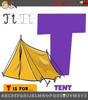 letter t uit alfabet met cartoon tent-object vector