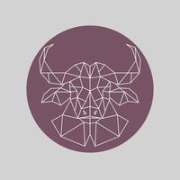 veelhoekige buffelkop. geometrische stijl.