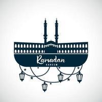 ramadan kareem. teken van de moskee met hangende lampen. vector