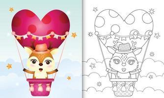 kleurboek voor kinderen met een schattig hert op een hete luchtballon liefde thema Valentijnsdag vector