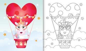 kleurboek voor kinderen met een schattig eenhoorn-vrouwtje op valentijnsdag met een heteluchtballon vector