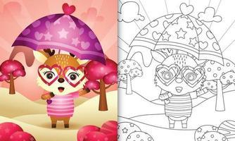 kleurboek voor kinderen met een schattig hert met Valentijnsdag met paraplu-thema vector
